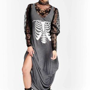 Wildfox Inside Out Skeleton Graphic Maxi Dress